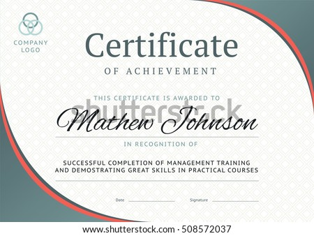 Certificate appreciation template modern design business stock certificate of achievement template design business diploma layout for training graduation or course completion yelopaper Choice Image