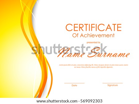 Certificate completion template dynamic orange soft stock vector certificate of achievement template with orange soft wavy light background vector illustration yadclub Images