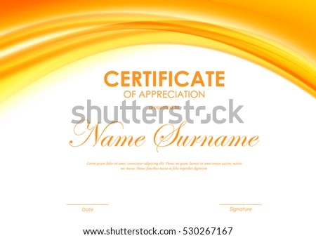 Certificate completion template dynamic orange soft stock vector certificate of appreciation template with orange dynamic bright soft wavy background vector illustration yadclub Images