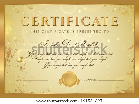 Certificate diploma completion design template background certificate of completion diploma design template background with gold grunge old yelopaper Choice Image