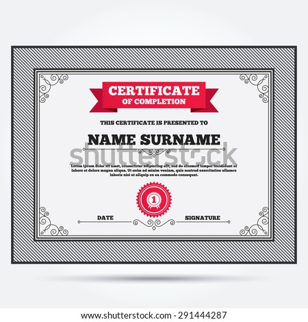 Certificate Completion First Place Award Sign Vector – First Place Award Certificate