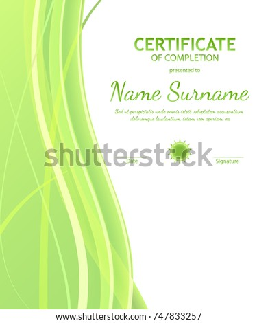 Certificate completion template burgundy wavy curved stock vector certificate of completion template with dynamic green and white soft wavy background curved lines in yadclub Gallery