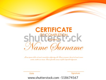 Certificate Of Completion Template With Dynamic Orange Soft Wavy Background Vector Illustration