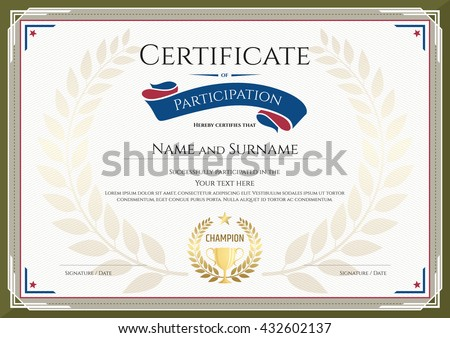 Certificate participation template sport theme gold stock vector certificate of participation template with green border gold trophy champion wreath yadclub Gallery