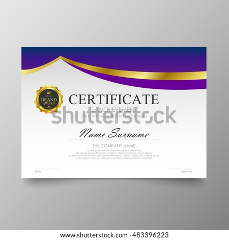 Certificate Template Layout Background Frame Design Stock Vector 295601387 Shutterstock