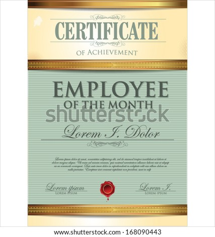 Certificate template employee month stock vector 168090452 certificate template employee of the month yadclub Images
