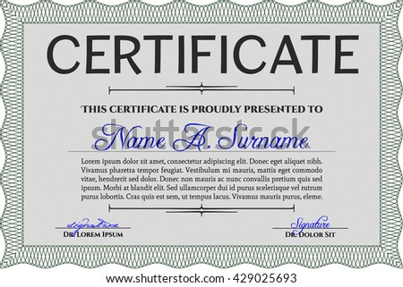 Certificate recognition formal style design editable certificate template eps10 jpg of achievement diploma vector illustration design completion yelopaper Choice Image