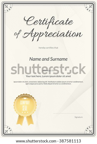 Certificate appreciation template cool modern design stock vector certificate template in portrait and vector format for achievement graduation completion yelopaper Image collections