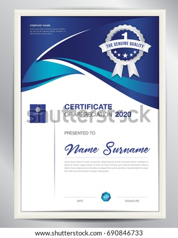 Certificate Template Vector Illustration Diploma Layout Stock ...