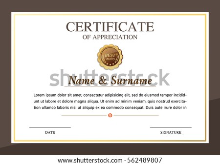 Certificate template golden element stock vector 596267330 certificate template warranty yadclub Gallery