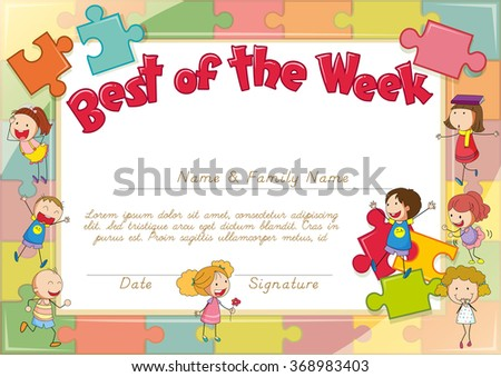 Certificate with children and jigsaw pieces background illustration