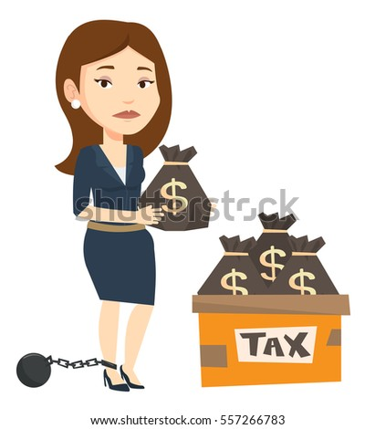 Chained to a ball taxpayer standing near bags with taxes. Upset taxpayer holding bag with dollar sign. Concept of tax time and taxpayer. Vector flat design illustration isolated on white background.