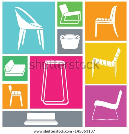 chair set furniture icon set interior design