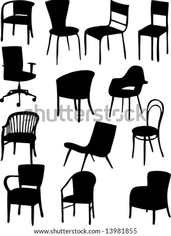Set Different Shape Tables Silhouettes Elegant Stock