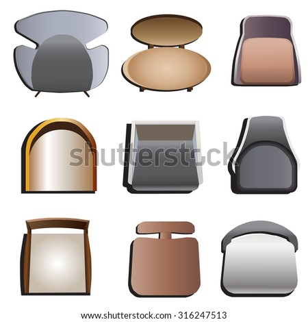 Dining Chair Top View chairs top view set 3 interior stock vector 316247093 - shutterstock