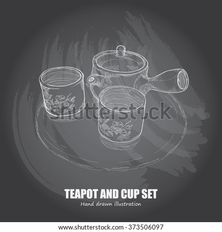 chalk drawing of teapot and tea cup