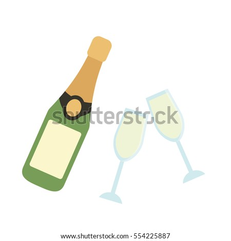 Champagne glass and bottle flat icon template