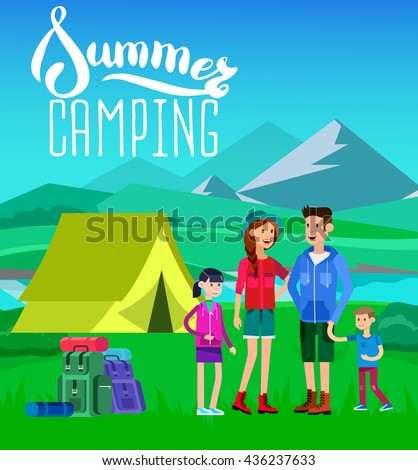 Character Happy Family Camping Camp Tent And Summer Landscape Morning In The Mountains