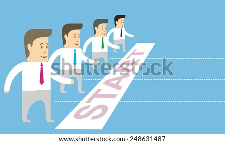 Characters businessmen standing at the starting line. Conceptual image.