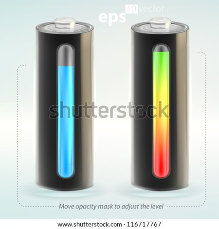 Charging battery charge copyspace indicator vector eps10 illustration, cute, empty and glossy