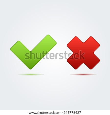 Check mark correct and wrong icon great for any use. Vector EPS10.
