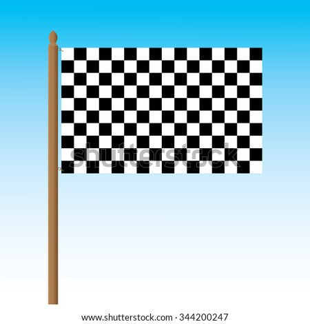 Checkered flag. Racing flag with blue background.