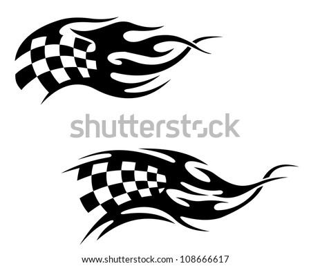 Checkered flag with black flames as a racing or motocross tattoo as a
