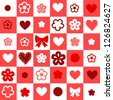 Checkered red and white seamless background with hearts and flowers, vector - stock photo