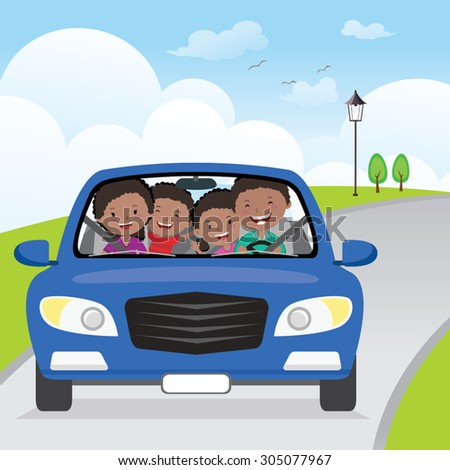 Cheerful family driving in car on holiday. Happy family traveling in the blue car on the road.