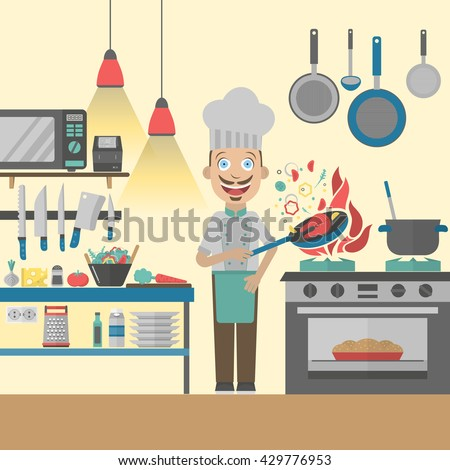 Restaurant Kitchen Illustration cute woman cooking kitchen stock vector 633130907 - shutterstock
