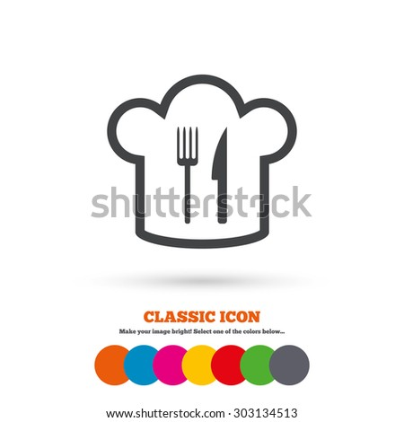 Chef hat sign icon. Cooking symbol. Cooks hat with fork and knife. Classic flat icon. Colored circles. Vector