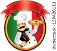 Chef holding a pizza and a menu inside a circle the Italian flag and banner red - stock vector