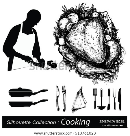 Chef silhouette collection .Hand drawn illustration .Dinner