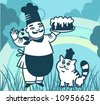 Chef with caka and cat. - stock vector