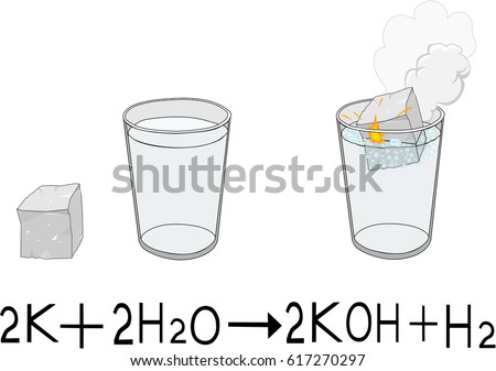 Chemical Reaction Sodium Water Stock Vector 560280064