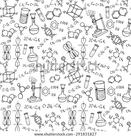 chemistry hand drawn doodles background. science vector illustration