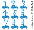Cherry pickers with numbers made from the boom configurations. - stock photo