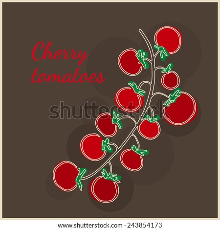 Cherry tomatoes on the brunch on the dark brown background. Fresh vegetables. Healthy vegetarian food.