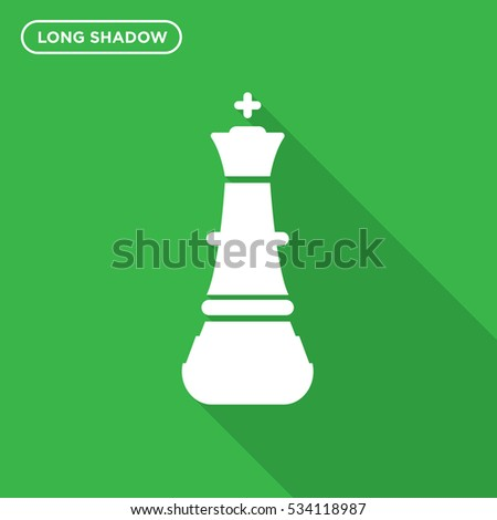 Chess figure icon illustration isolated vector sign symbol in long shadow style on green background
