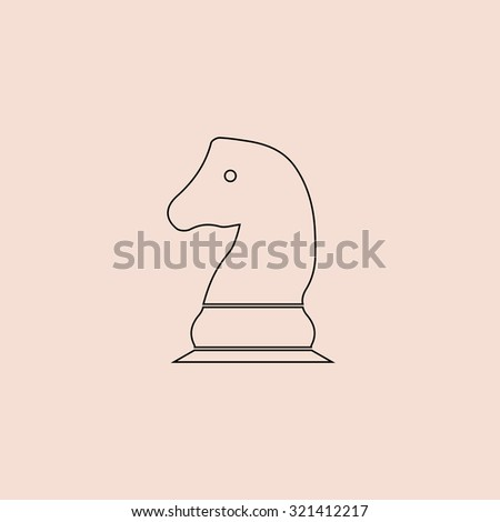 Chess knight. OOutline vector icon. Simple flat pictogram on pink background
