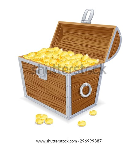 Chest with gold coins on a white background. Eps10.