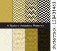 Chevron Patterns in Black, Gold and White. Classic neutral colors! Pattern Swatches made with Global Colors - easy to change all patterns in one click. - stock photo