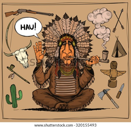 Chieftain of indians. And set objects related to Indians. Colored