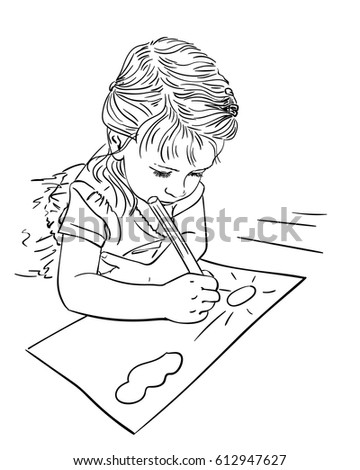 child drawing cloud and sun on paper while lying on floor vector sketch hand - Child Drawing Book