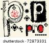 childish hand drawn alphabet, crazy doodle P - stock photo