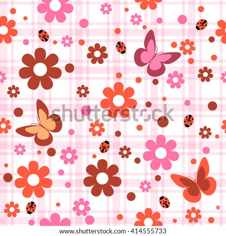 childish seamless pattern with flowers,  butterfly and spots  in plaid background , vector illustration
