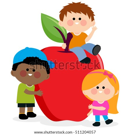 Children and apple