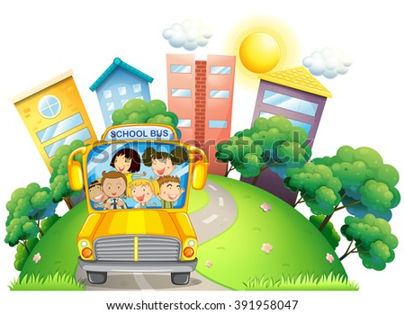 Children and teacher on school bus illustration