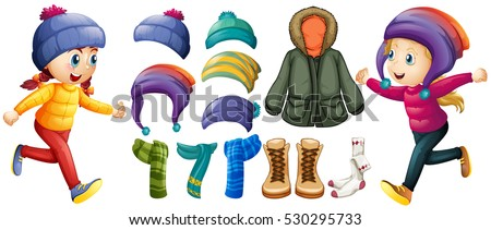 Children and winter clothes set illustration