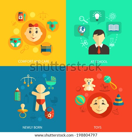 Children concept flat icons set of newly born baby comfort and care school education and toys for infographics design web elements vector illustration